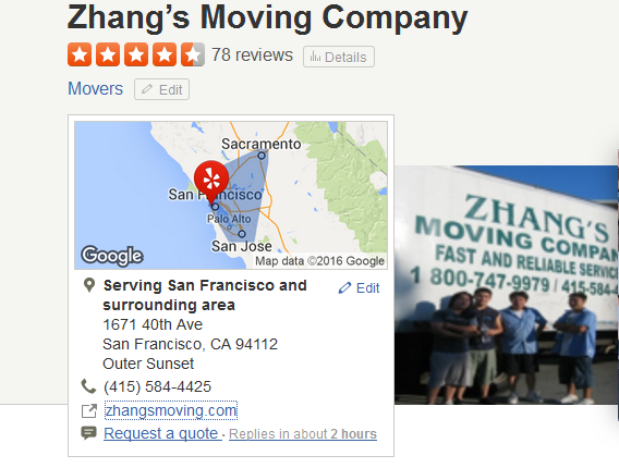 Zhang's Moving – Movers' Location