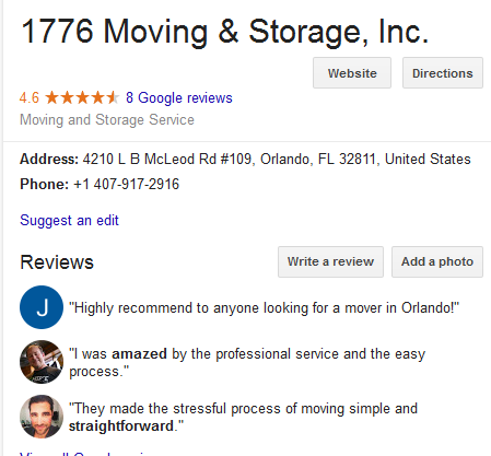 1776 Moving and Storage – Mover's location