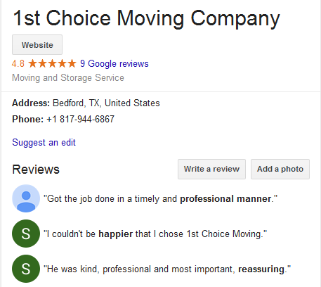 1st Choice Moving – Movers' location and ratings