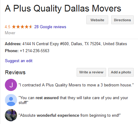 A Plus Quality Movers – Movers' location