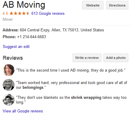 AB Moving – Movers' Location