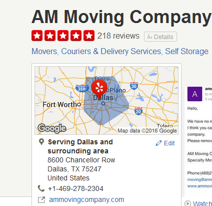 AM Moving – Movers' Location