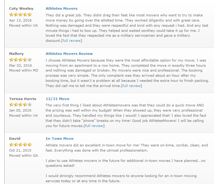 Athletes Movers – Moving reviews