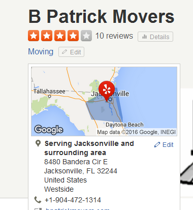 B Patrick Movers – Movers' location