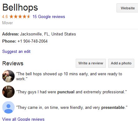 Bellhops – Movers' location