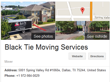 Black Tie Moving Services – Movers' location