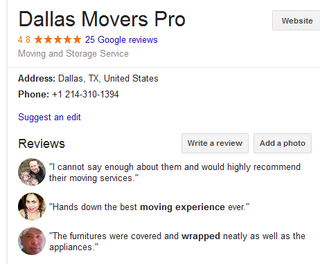 Dallas Movers Pro – Location and ratings