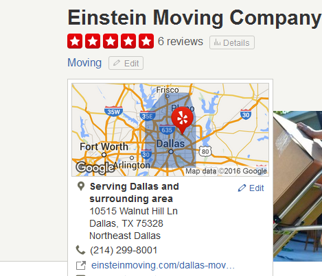 Einstein Moving Company – Movers' location