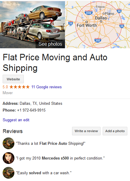 Flat Price Moving and Auto Shipping – Location and ratings