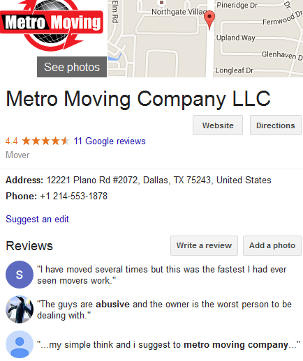 Metro Moving Company LLC – Movers' location