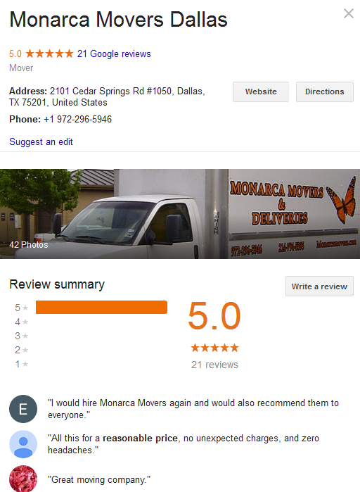 Monarca Movers – Location and ratings