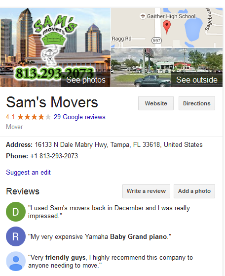 Sam's Movers – Movers' location