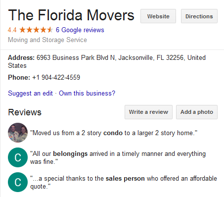 The Florida Movers – Movers' location