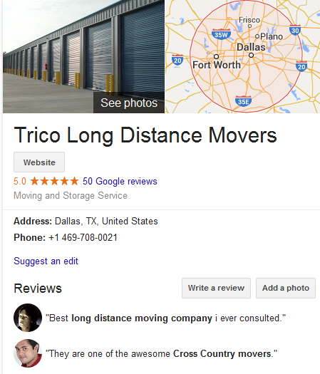 Trico Long Distance Movers – Movers' Location