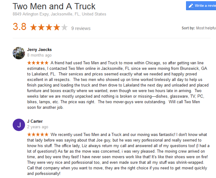 Two Men and a Truck – Moving reviews