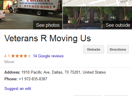Veterans R Moving Us – Movers' location