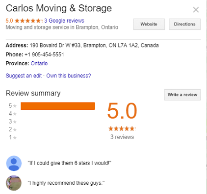 Carlos Moving and Storage