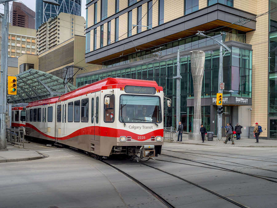 Calgary's efficient C-train, its main light rail transit, moves an average of 300,000 people a day