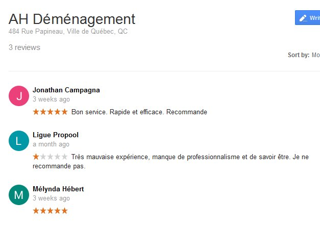 AH Demenagement – Moving reviews