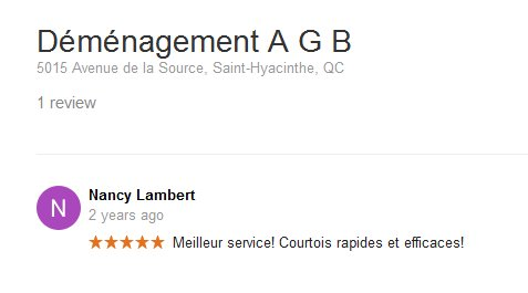 Demenagement AGB – Moving review