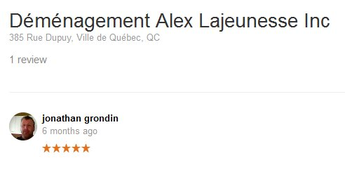 Demenagement Alex Lajeunesse Inc. – Moving review