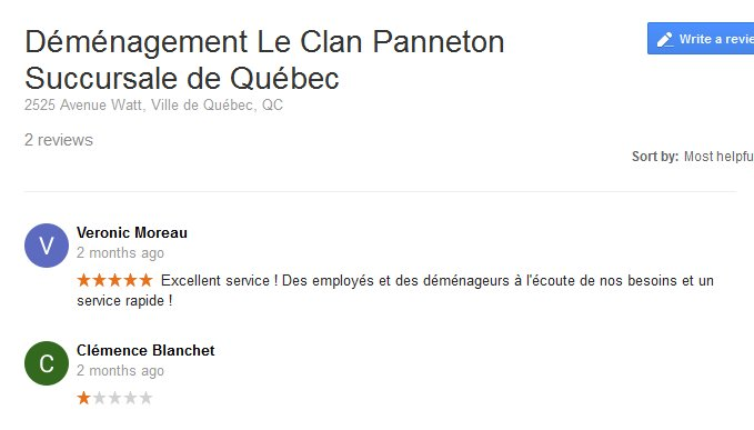 Demenagement Le Clan Panneton – Moving reviews