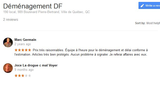 Demenagement DF – Moving reviews