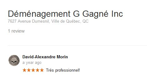 Demenagement G Gagne Inc. – Moving review
