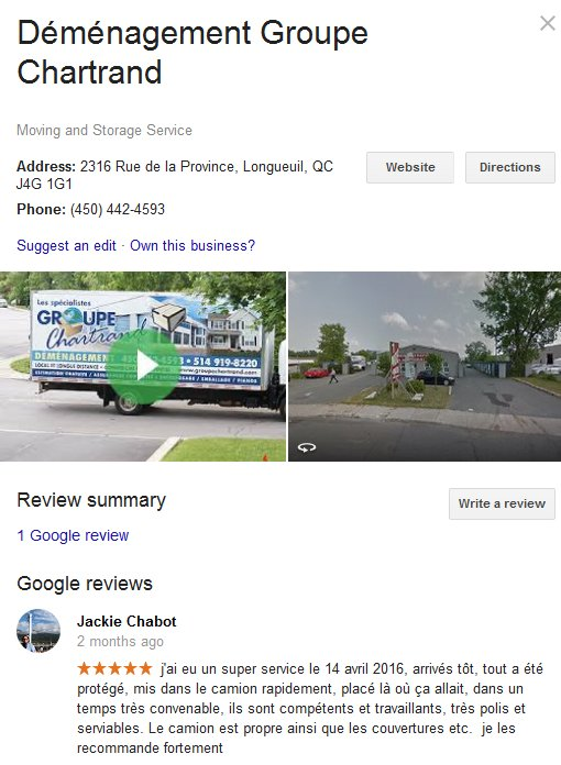 Demenagement Groupe Chartrand – Location and moving review