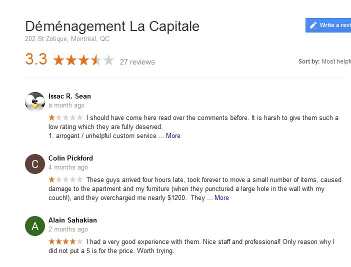 Demenagement La Capitale – Moving reviews