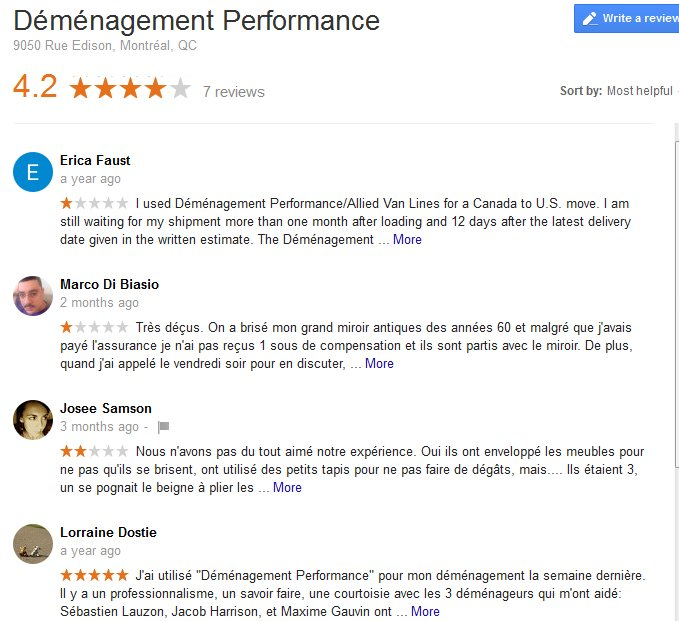 Demenagement Performance – Moving reviews