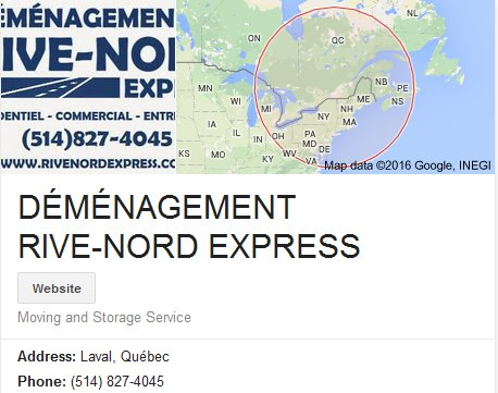 Demenagement Rive Nord Express – Location