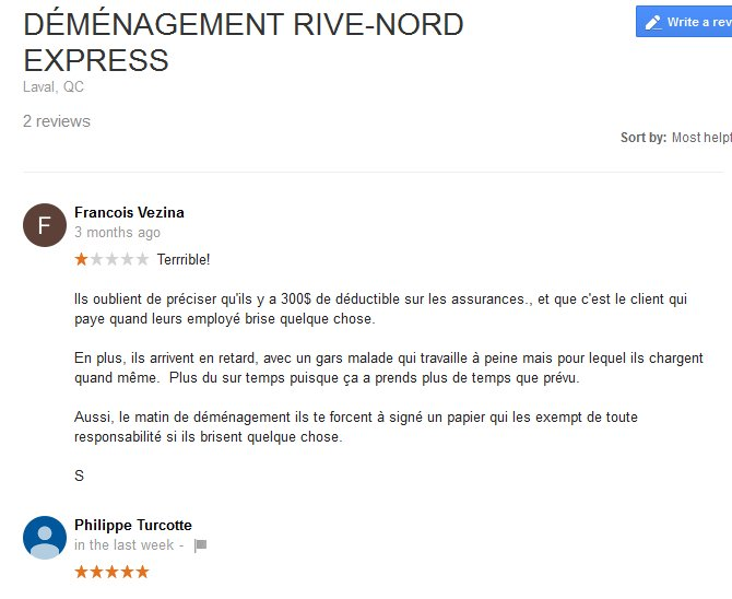 Demenagement Rive Nord Express – Moving reviews