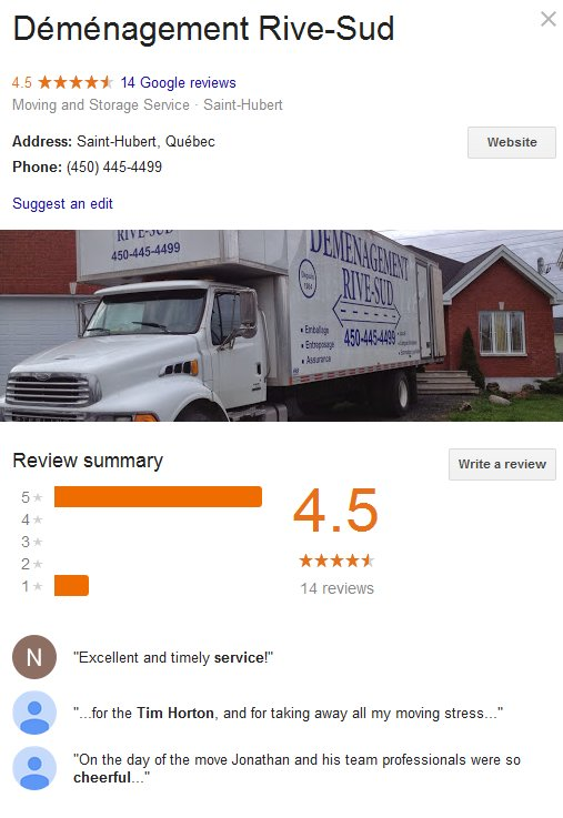 Demenagement Rive Sud – Location and moving reviews