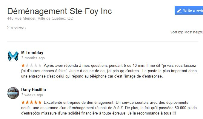 Demenagement Ste-Foy – Moving reviews