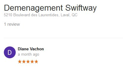 Demenagement Swiftway – Moving review