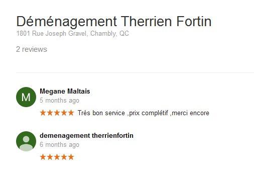 Demenagement Therrien Fortin – Moving reviews