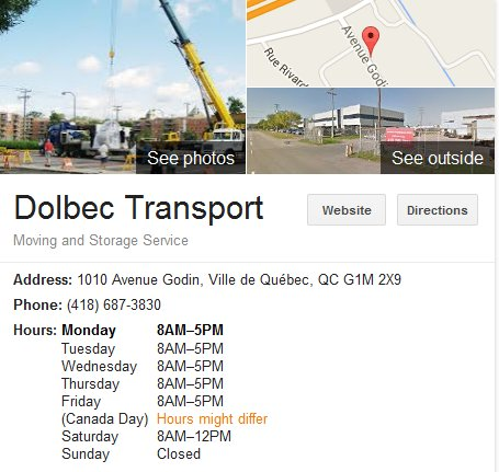 Dolbec Transport – Location