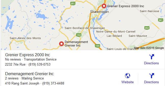 Grenier Transport – Locations