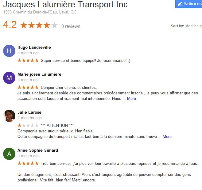 Jacques Lalumiere Transport – Moving reviews