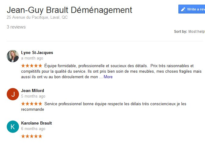 Jean Guy Brault Demenagement – Moving reviews
