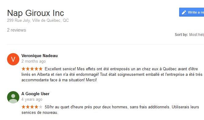 Nap Giroux Inc. – Moving reviews
