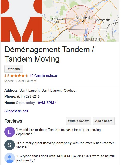 Tandem Moving – Location and moving reviews