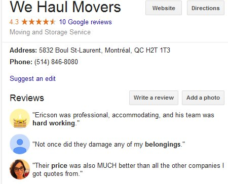 We Haul Movers – Location and reviews