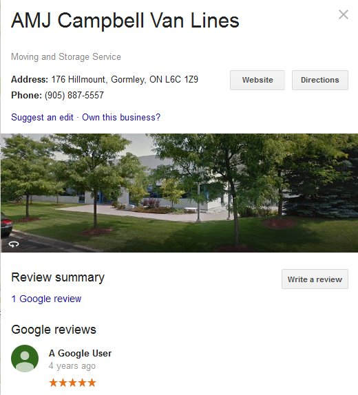 AMJ Campbell Van Lines – Location