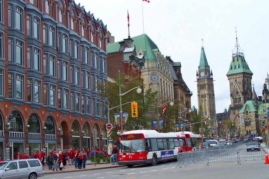 Downtown Ottawa – busy city section near Parliament buildings