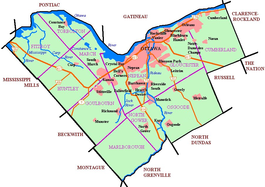 Map of Ottawa's urban areas, townships, and highways