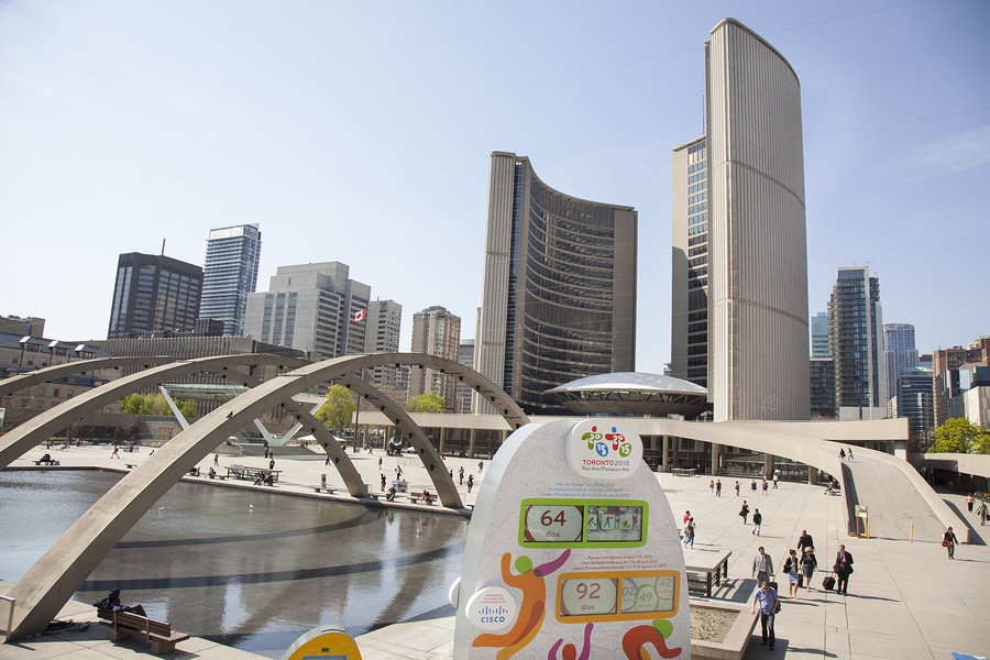 The 2015 Pan Am/ Parapan Am games was held in Toronto – busy downtown scene