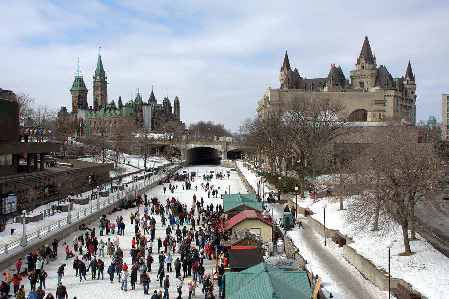The Rideau Canal becomes the world's biggest skating rink in winter