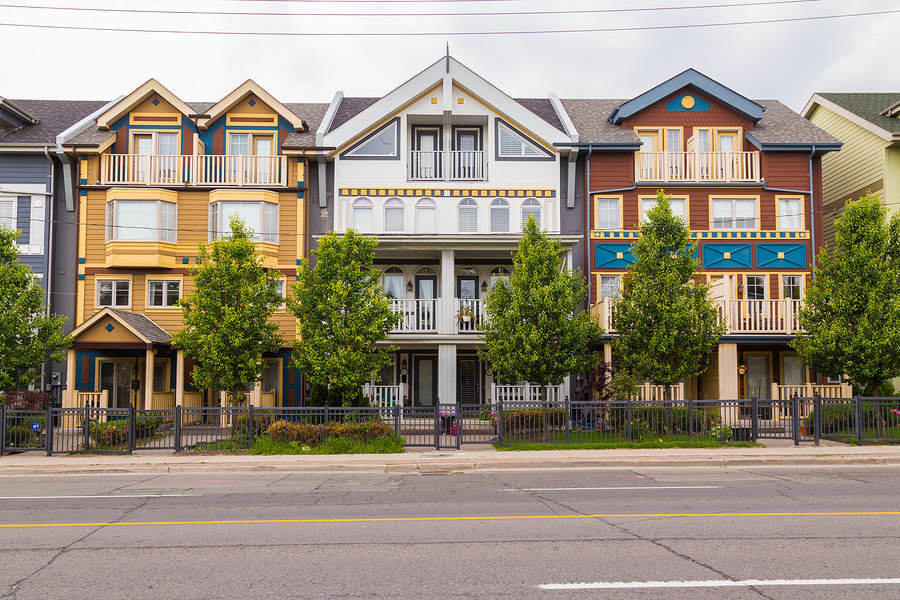 Toronto Neighborhoods- Multi-colored houses in The Beaches
